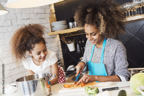 Photo  Beautiful African American woman and her daughter cooking in the kitchen
