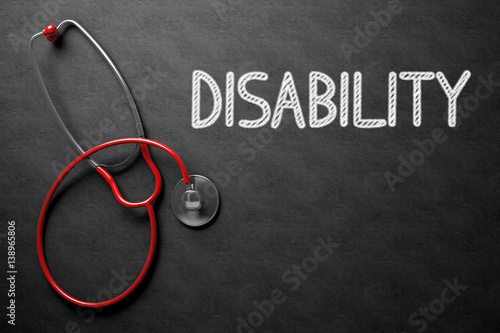 Chalkboard with Disability. 3D Illustration. Wallpaper Mural