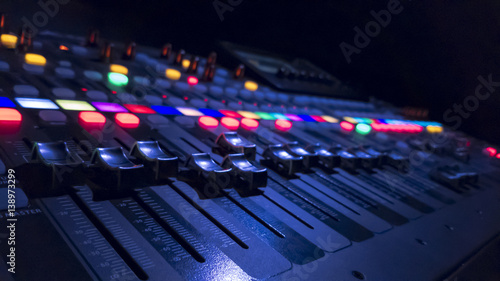 Slika na platnu Audio Mixer in dark background