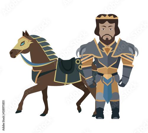 Fantasy Knight Character Vector Illustration. Wallpaper Mural