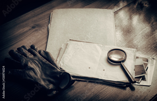 Fotografie, Obraz  Top secret documents investigation concept background