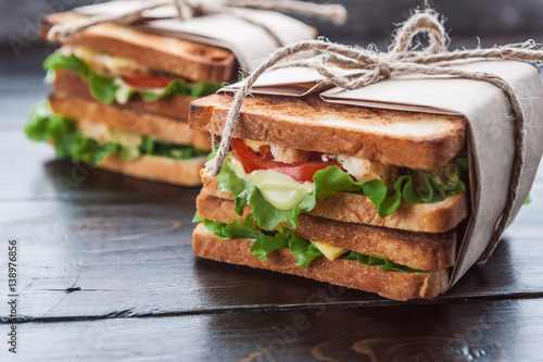 Spoed Foto op Canvas Snack delicious homemade sandwich in rustic style