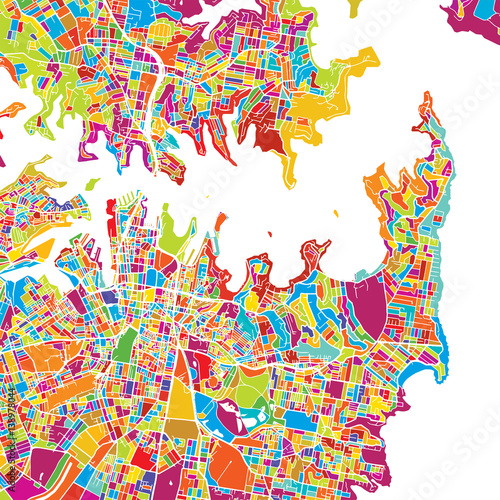 Fototapeta Sydney Colorful Vector Map