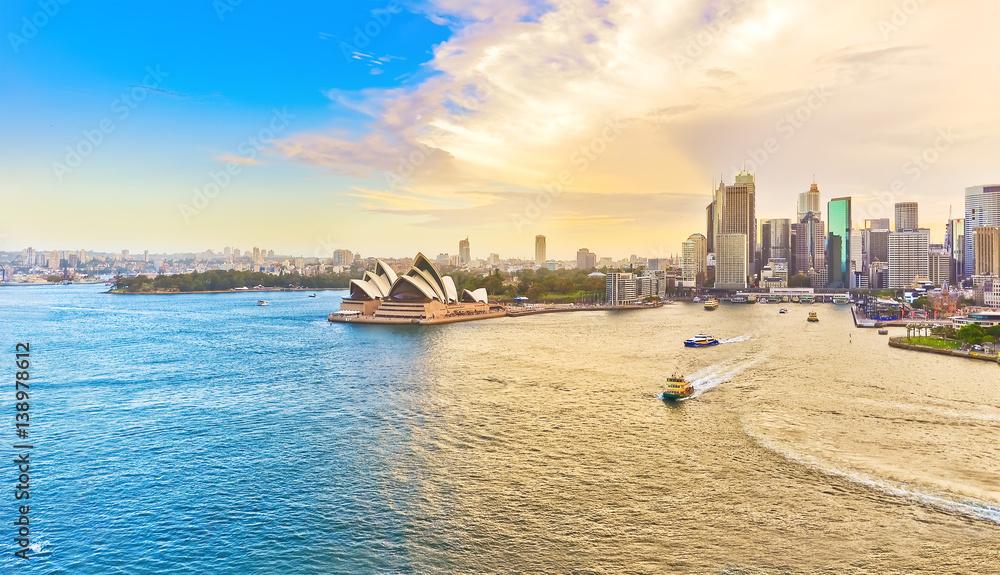 Fotografie, Tablou  View of Sydney Harbour at sunset