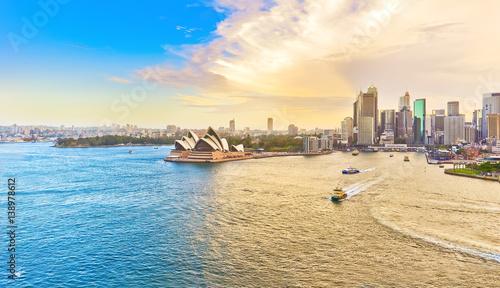 Spoed Foto op Canvas Australië View of Sydney Harbour at sunset