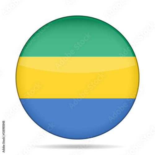 Fotografie, Obraz  Flag of Gabon. Shiny round button.