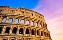 View Of Colosseum At Sunset In...