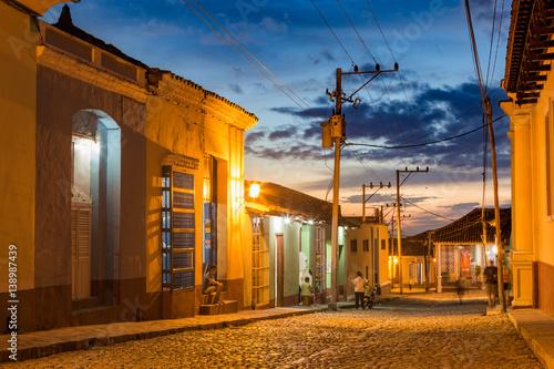 Cuba. Night street of the city of Trinidad. Canvas Print