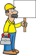 Cartoon illustration of a construction worker holding a sign.