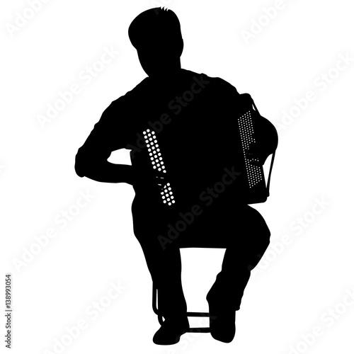 Fotografia, Obraz Silhouette musician, accordion player on white background, vector illustration