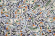 Pile Of Usa Dollar Banknote. Close Up.