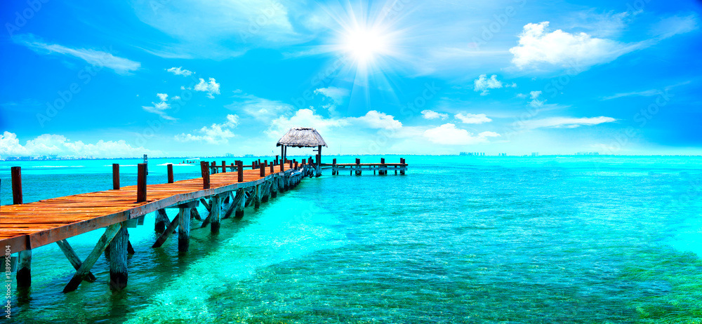 Fototapeta Exotic Caribbean paradise. Travel, tourism or vacations concept. Tropical beach resort