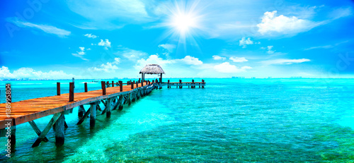 Recess Fitting Blue Exotic Caribbean paradise. Travel, tourism or vacations concept. Tropical beach resort