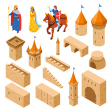 Medieval Royal Castle Isometric Set