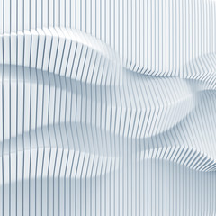 abstract surface made of vertical panels forming wavy 3d geometry