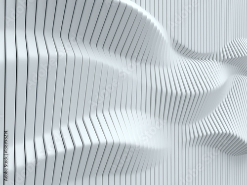fototapeta na ścianę abstract surface made of vertical panels forming wavy geometry 3d illustration