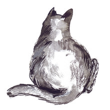 Back Of Cute Sitting Black Cat Painted In Watercolor On Clean White Background