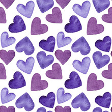 Watercolor Seamless Pattern Of Purple Hearts, Illustration On White Background.