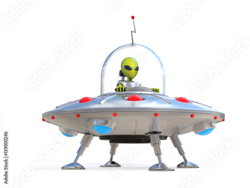 Alien spaceship, flying saucer 3d illustration Canvas Print