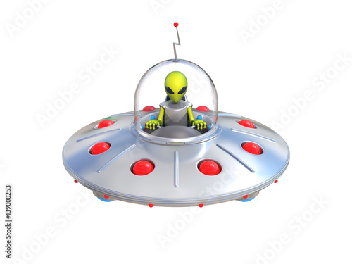 Photo  Alien spaceship, flying saucer 3d illustration