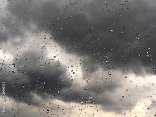 raindrops at window during winter rainstorm Fototapeta