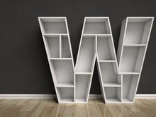 Letter W Shaped Shelves 3d Rendering