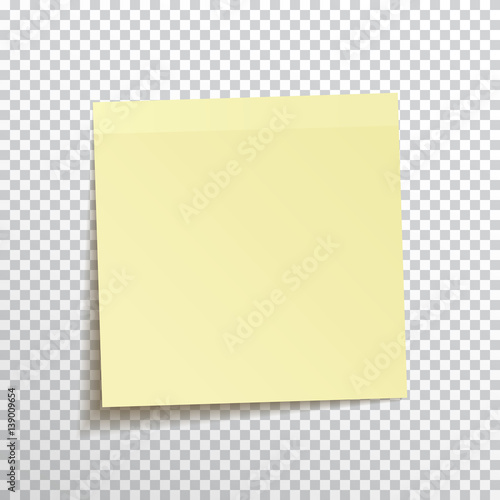 Fotografía  Template yellow sticky note isolated on transparent background