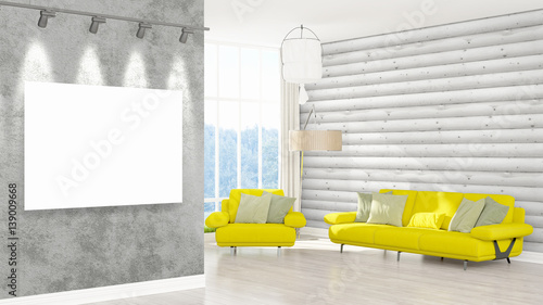 Fototapety, obrazy: Modern interior with empty frame . 3D rendering