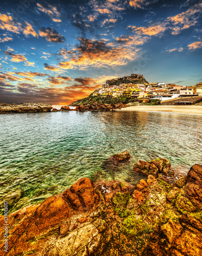 Photo  Colorful sky over Castelsardo