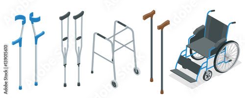 Fotografia Isometric set of mobility aids including a wheelchair, walker, crutches, quad cane, and forearm crutches
