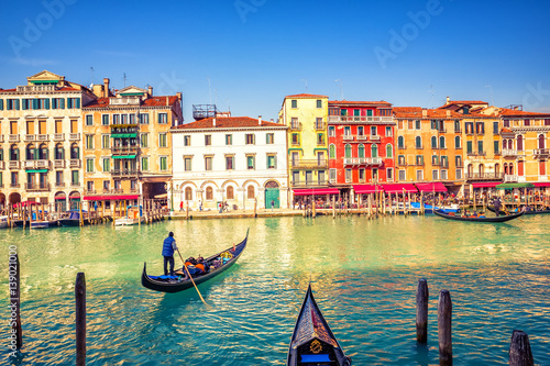 Photo  Gondola on Grand canal in Venice, Italy