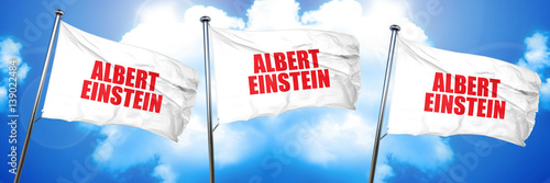 albert einstein, 3D rendering, triple flags Poster