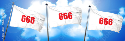 Photo  666, 3D rendering, triple flags