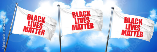 Obraz na plátne  black lives matter, 3D rendering, triple flags