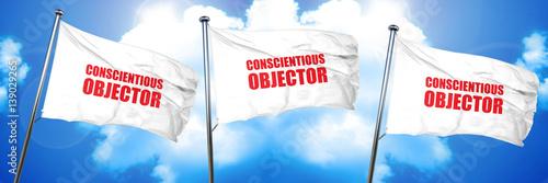 Fotografie, Obraz  conscientious objector, 3D rendering, triple flags