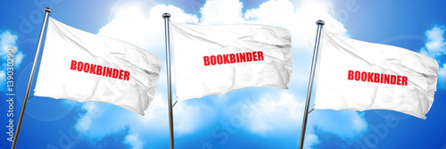 Fototapeta  bookbinder, 3D rendering, triple flags