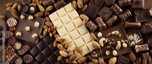 Obraz na płótnie Cinnamon, Dark chocolate with milk and candy sweet