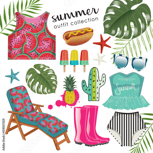 Poster Doodle Vector of hand drawn fashion illustration. A set of tropical summer outfit collection with accessories and desserts.