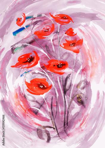 Bukiet czerwonych kwiatów w akwareli. Piękna karta moda