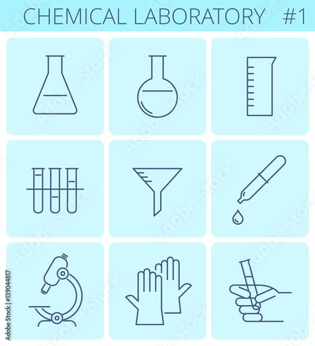 Chemical Laboratory Equipment Outline Icons Glass Test Tube Lab