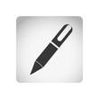 monochrome square frame with silhouette pen icon tool vector illustration