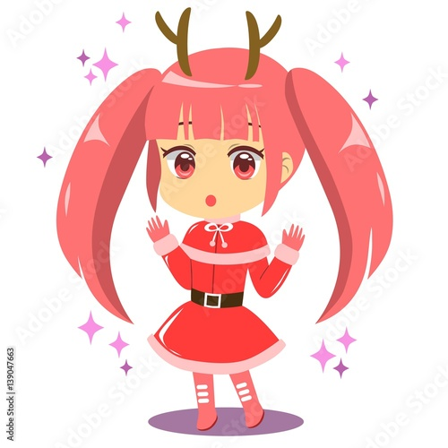 Cute Chibi Santa Girl With Reindeer Horn Celebrate Christmas фототапет