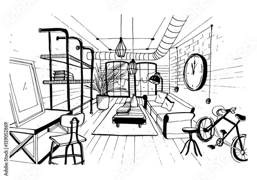 Modern Living Room Interior In Loft Style Hand Drawn Sketch
