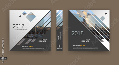 Fototapeta Abstract blurb. White, black brochure cover design. Fancy info banner frame. Ad flyer text font. Title sheet model set. Modern vector front page. Creative city view texture. Rhombus figures image icon obraz