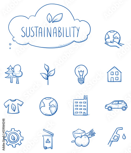 Icon set ecology, sustainability, with various objects, house, food, clothing, gear, car, lightbulb, plant, trees, gas, globe. Hand drawn line art cartoon vector illustration.