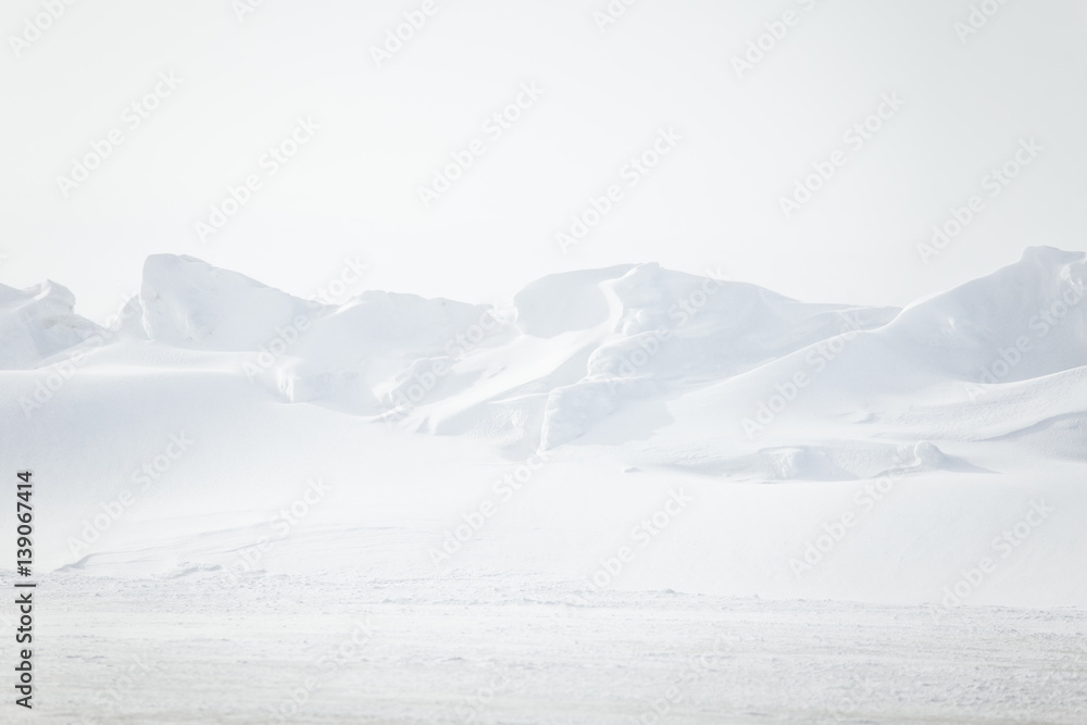 Fototapety, obrazy: A beautiful, minimalist landscape of snowdrift in Norway. Clean, light, high key, decorative look.