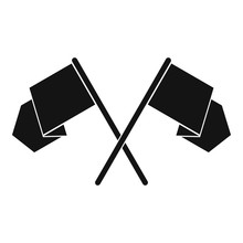 Crossed Flags Icon, Simple Style