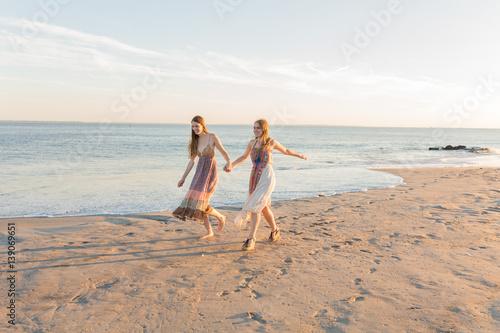 Female Best Friend On Holidays In Coney Island Beach New York City Us