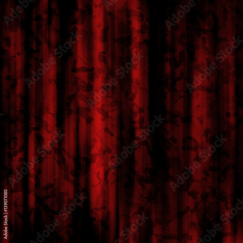 Fotobehang Stof Elegant Dark Red Silk Curtains with Formal Pattern Background Design - High resolution illustration for graphic element or backdrop use.