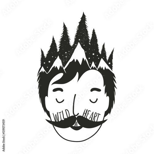 Photo  Vector illustration with man head and pine forest in his hair